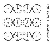 set of 12 clocks icon for every ... | Shutterstock .eps vector #1169651071