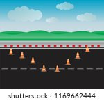 set of traffic cone on road... | Shutterstock .eps vector #1169662444