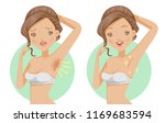 armpit hair care. dark and... | Shutterstock .eps vector #1169683594