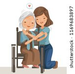 elderly woman sitting on a... | Shutterstock .eps vector #1169683897