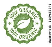 100 percent organic stamp label | Shutterstock .eps vector #1169688391