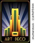 art deco building retro poster... | Shutterstock .eps vector #1169695444