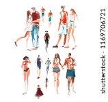 walking people watercolor... | Shutterstock . vector #1169706721