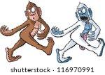 a cartoon sasquatch and his...   Shutterstock .eps vector #116970991