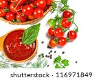 red tomato sauce in a wooden... | Shutterstock . vector #116971849
