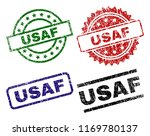 USAF seal imprints with corroded style. Black, green,red,blue vector rubber prints of USAF label with corroded surface. Rubber seals with round, rectangle, medallion shapes.