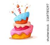 cartoon cake illustration with... | Shutterstock .eps vector #1169785297