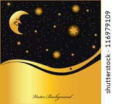 night sky golden background ... | Shutterstock .eps vector #116979109