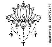 mehndi lotus flower pattern for ... | Shutterstock .eps vector #1169792674