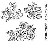 set of mehndi flower pattern... | Shutterstock .eps vector #1169792707