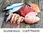 healthy food of animal origin... | Shutterstock . vector #1169796634