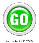 Green go Button - stock photo