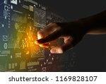 female finger touching a beam... | Shutterstock . vector #1169828107