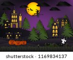 paper art of halloween... | Shutterstock .eps vector #1169834137