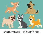 Stock vector set of dog flat cartoon 1169846701