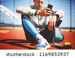 young athlete with a prosthetic ... | Shutterstock . vector #1169853937