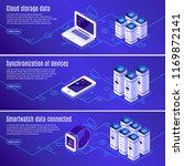 isometric database. computer ... | Shutterstock .eps vector #1169872141