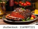roasted brisket. rustic style ... | Shutterstock . vector #1169897221