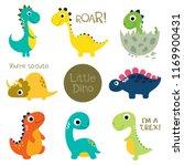 set of little cute dinos.... | Shutterstock .eps vector #1169900431