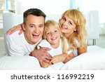 portrait of happy parents with... | Shutterstock . vector #116992219