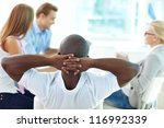 rear view of relaxed man... | Shutterstock . vector #116992339