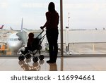 silhouettes of mother and baby... | Shutterstock . vector #116994661