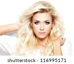 beautiful blond woman with long ... | Shutterstock . vector #116995171