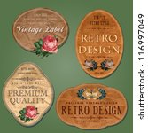 vintage labels with flowers | Shutterstock .eps vector #116997049