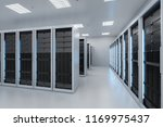 3d rendering server room or data center - stock photo
