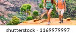 hikers walking in hiking shoes... | Shutterstock . vector #1169979997