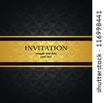 Vintage seamless damask wallpaper with a gold ribbon. Can be used as invitation - stock vector