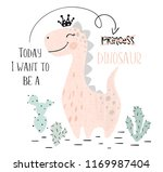 Stock vector dinosaur baby girl cute print sweet dino princess with crown cool brachiosaurus illustration for 1169987404
