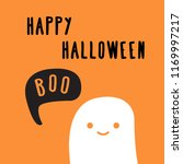 happy halloween card with ghost ...   Shutterstock .eps vector #1169997217
