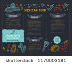 mexican food restaurant menu ... | Shutterstock .eps vector #1170003181