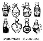 bottles with potions. poison... | Shutterstock .eps vector #1170023851