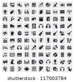 vector black music icons set on ... | Shutterstock .eps vector #117003784