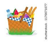 picnic basket on grass. vector... | Shutterstock .eps vector #1170071077