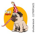 adorable beige puppy pug in a... | Shutterstock .eps vector #1170091621