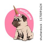 adorable beige puppy pug in a... | Shutterstock .eps vector #1170091624