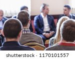 speaker at business workshop... | Shutterstock . vector #1170101557