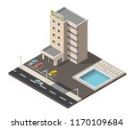 isometric hotel building with... | Shutterstock .eps vector #1170109684