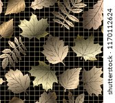 gold autumn leaves on black... | Shutterstock .eps vector #1170112624