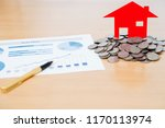 house model and stack of coins... | Shutterstock . vector #1170113974