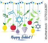 happy sukkot holiday. jewish... | Shutterstock .eps vector #1170116287