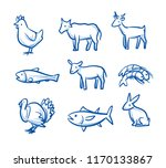 cute cartoon animal food icon... | Shutterstock .eps vector #1170133867