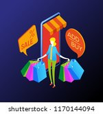 the sale and consumer concept.... | Shutterstock .eps vector #1170144094