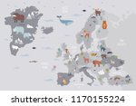world map with funny wild... | Shutterstock .eps vector #1170155224