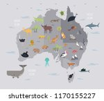 map of australia with cute... | Shutterstock .eps vector #1170155227