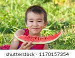happy smiling asian child... | Shutterstock . vector #1170157354