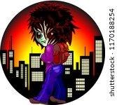 evil kid zombie on night city...   Shutterstock .eps vector #1170188254